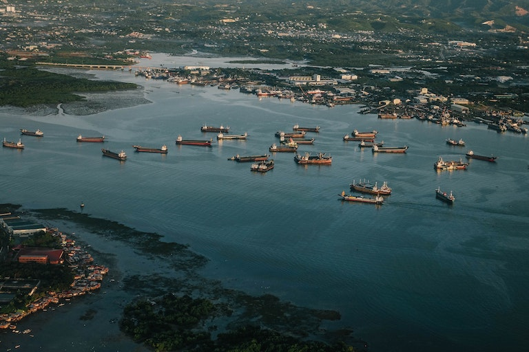 Arial view of cargo ships in a bay.